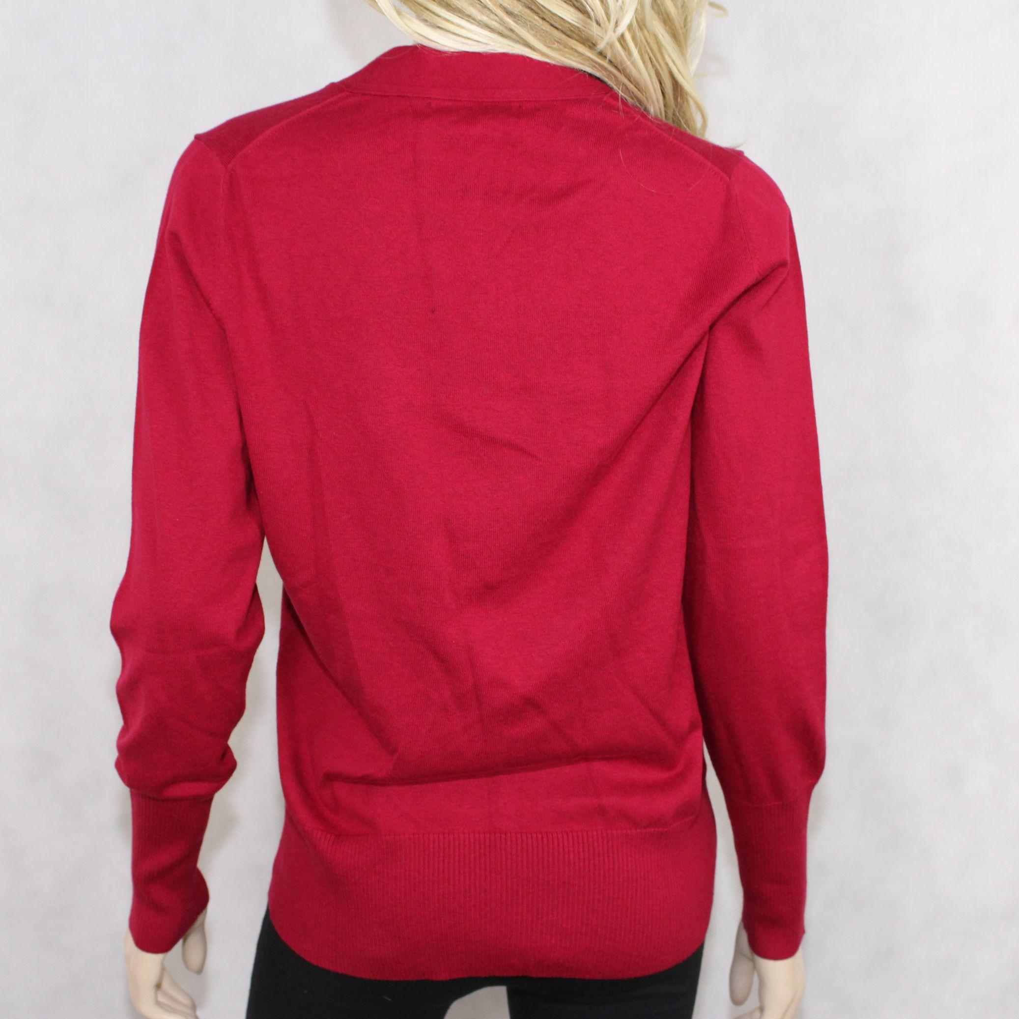 BANANA REPUBLIC womens red silk-cotton-cashmere v-neck sweater ...